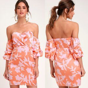 Lulus Baros Coral Floral Off Shoulder Fitted Dress